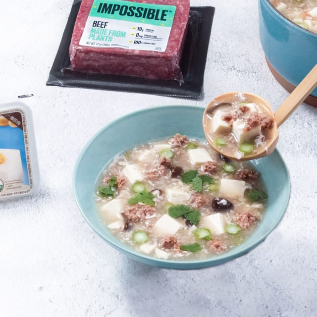 Impossible Burger and tofu soup recipe with tofu and plant based beef