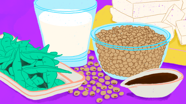 Illustration of common soy foods, including soy milk, edamame, tofu, and soy beans.