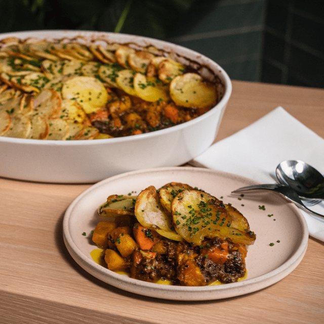 Impossible Jamaican Curry Autumn Cottage Pie made with Impossible Burger
