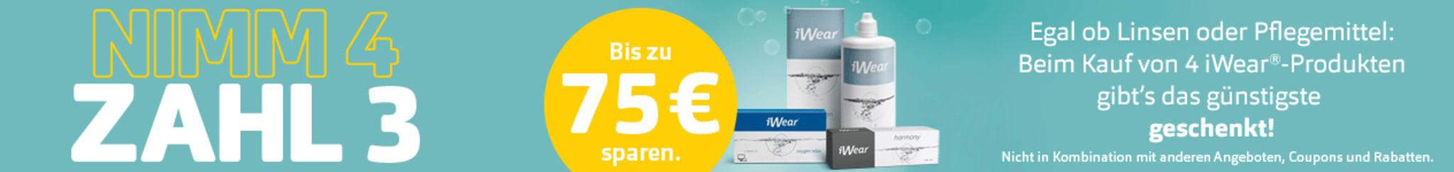 Bis zu 75€ sparen: 4 iWear-Produkte kaufen und nur 3 bezahlen.