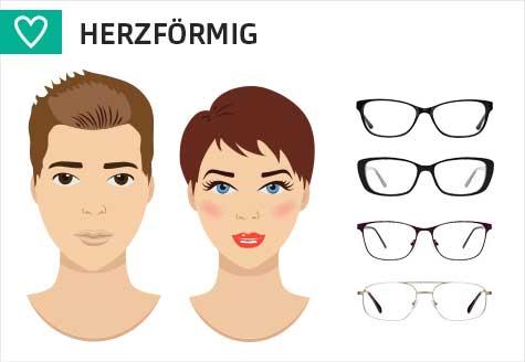 Brillen für ein herzförmiges Gesicht