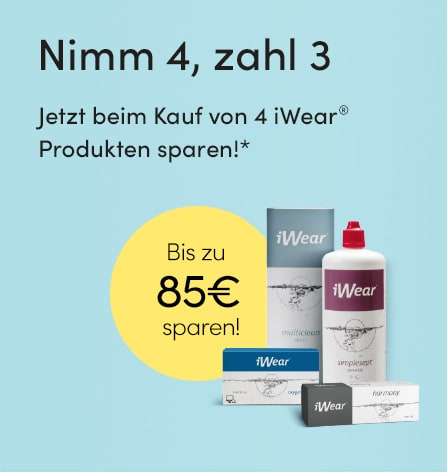 Nimm 4 iWear-Produkte im Paket und zahle nur 3