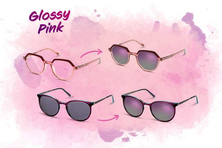 Verspiegelte Sonnenbrillen mit Glossy Pink Effekt