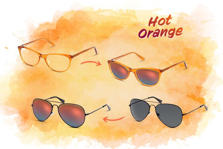 Verspiegelte Sonnenbrillen mit Hot Orange Effekt