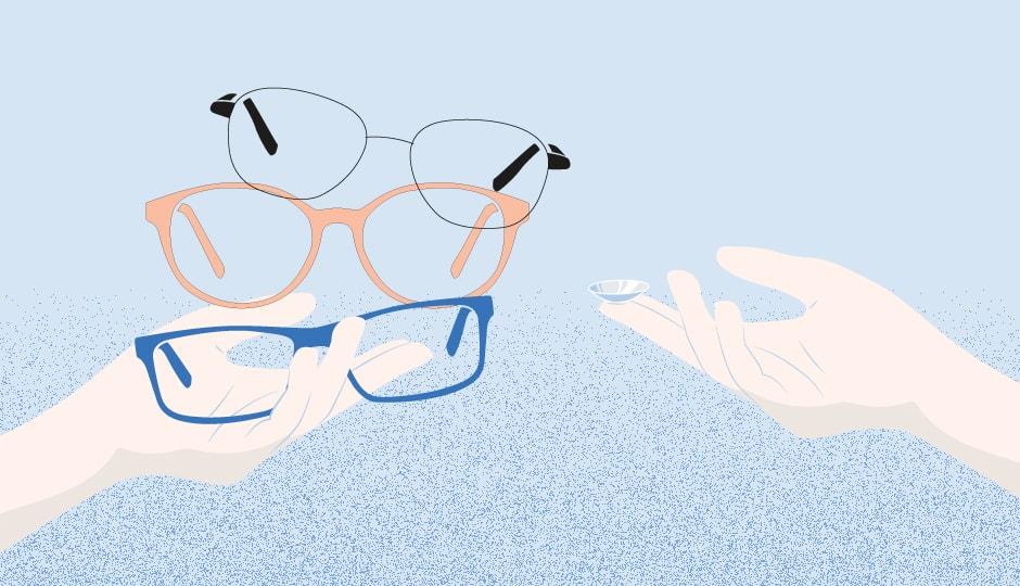 Illustration-Brillen-Kontaktlinsen