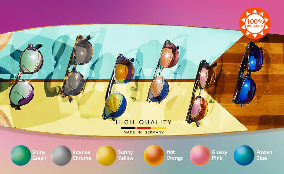 Verspiegelte Sonnenbrillen-Gläser in 6 Trendfarben