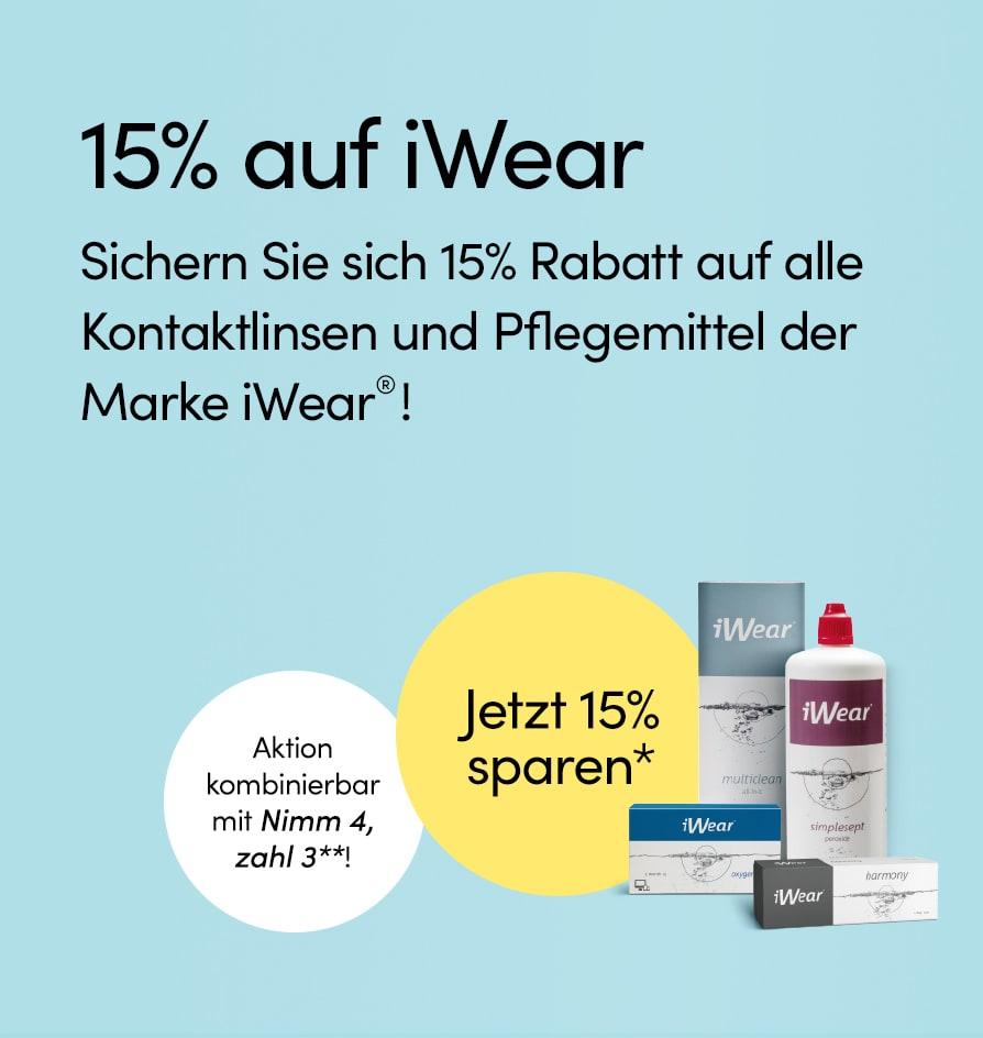 15% auf alle iWear® Kontaktlinsen und Pflegemittel