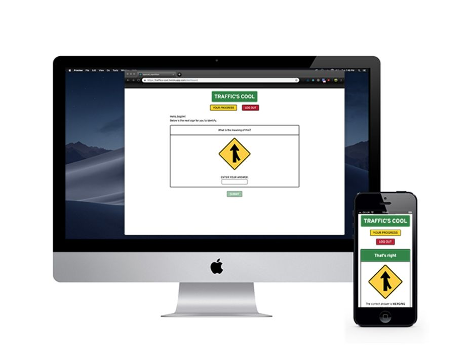 The Traffic's Cool app on an iMac and an iPhone