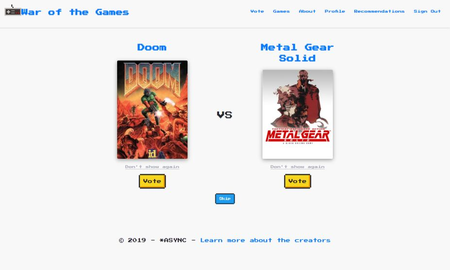 Screenshot of the homepage of War of the Games