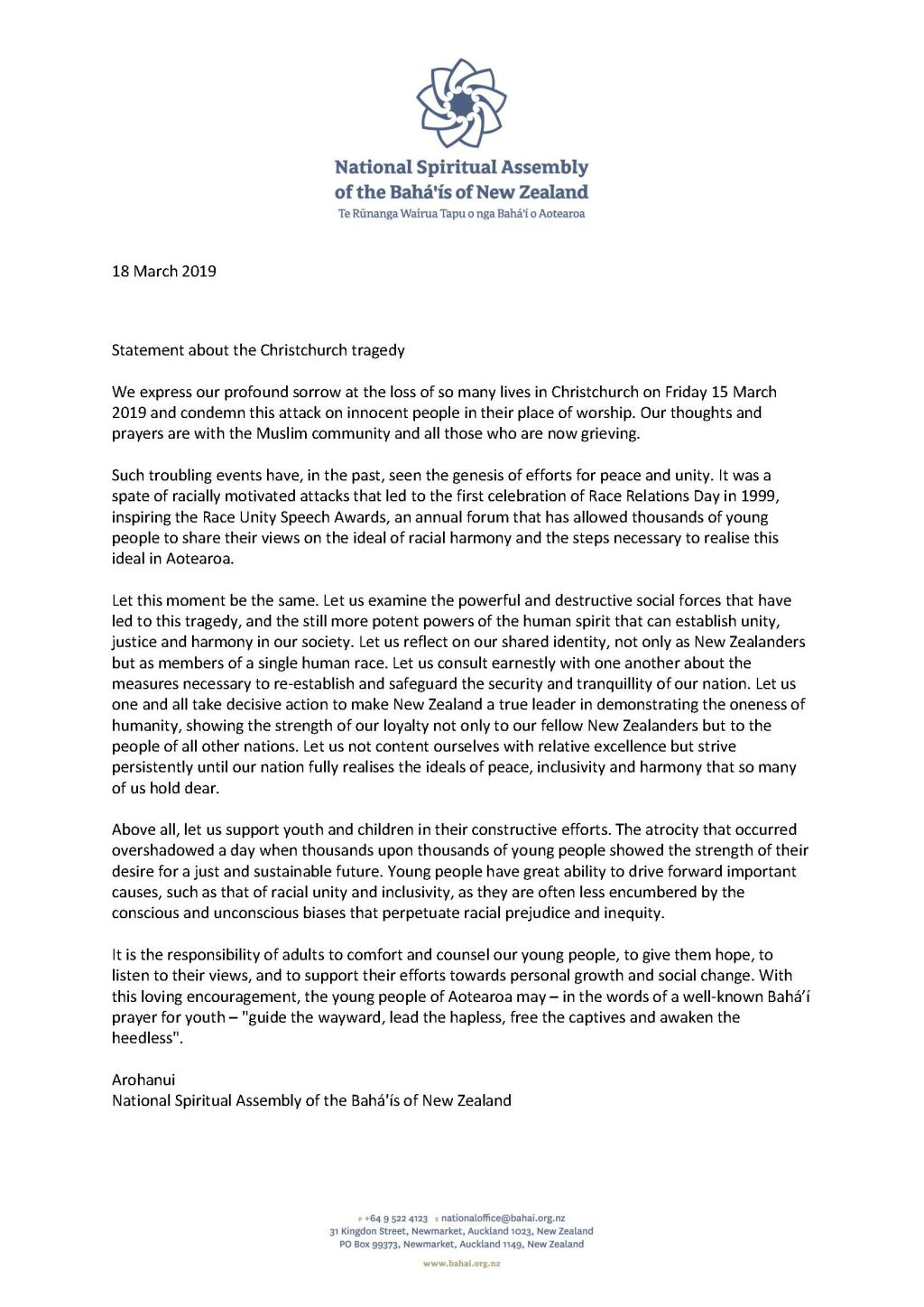 Public statement by the national spiritual assembly of new zealand march 2019