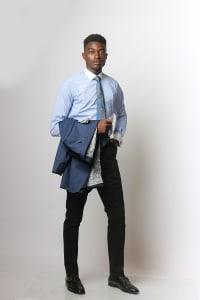 Blue shirt and suit jacket/ black suit pants