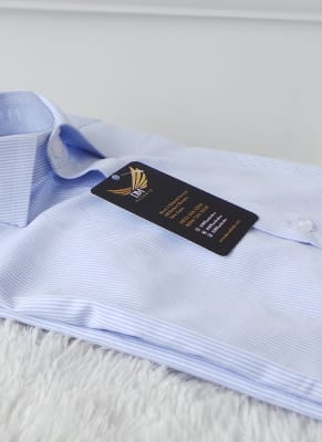 men's light blue stripe dress shirt