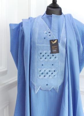 Blue stripped men's Agbada