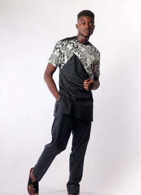 Black & Paisley Deep V Cut Atiku