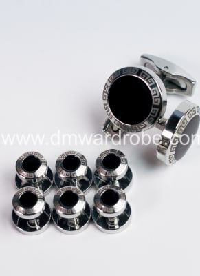 Black Silver Cufflinks and Studs