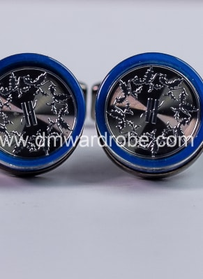 Navy Blue Silver Cufflinks