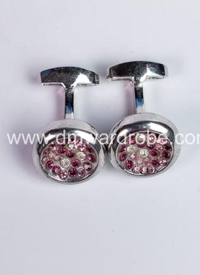 Pink Silver Cufflinks