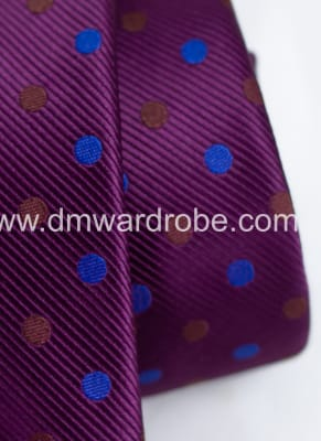 Violet Blue & Brown Polka Dot Tie