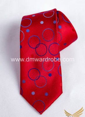 Red Blue Polka Circle Tie