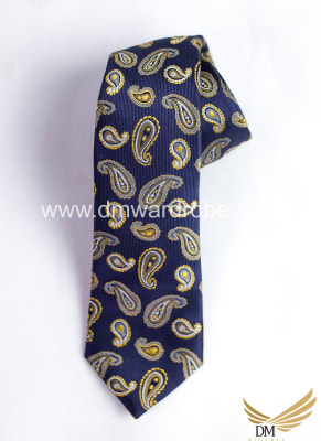 Navy Blue Yellow Tie