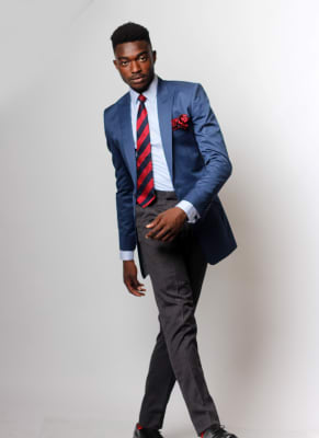 Navy Blue Two-Piece Suit with Tie & Pocket Square