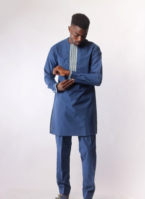 Embroidered Navy Blue Two-Piece Atiku