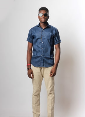 Navy Blue Shirt & Cream Chinos Pants