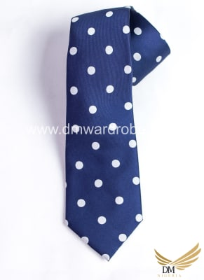 Blue White Polka Dot Tie