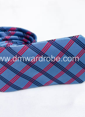 Sky Blue Black & Red Stripes Tie