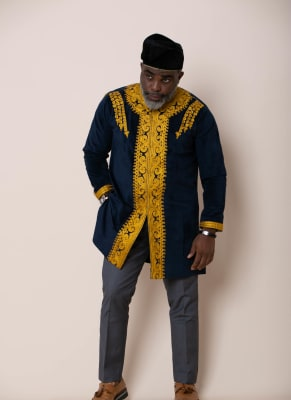 Navyblue & Gold Embroidery Traditional Wear
