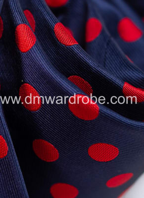 Navy Blue Red Polka Dot Tie