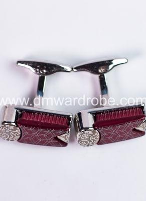 Burgundy Silver Cufflinks