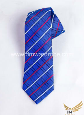 Blue Red Stripes Tie