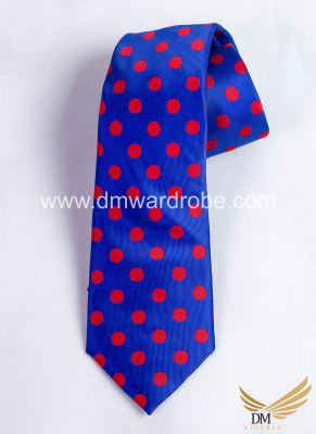 Blue Red Polka Dot Tie