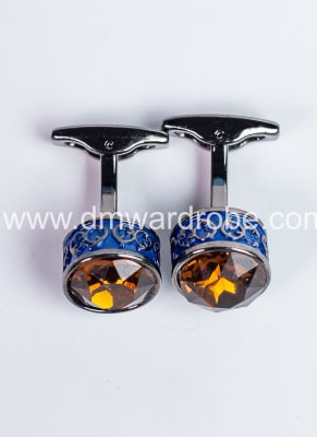 Gold Blue Silver Cufflinks