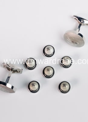 Silver cufflinks and studs