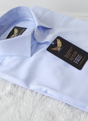 men's light blue stripe dress shirt