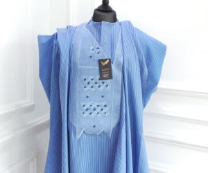 Blue stripped men's Agbada