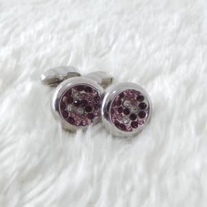 Silver and Pink Cuff-links