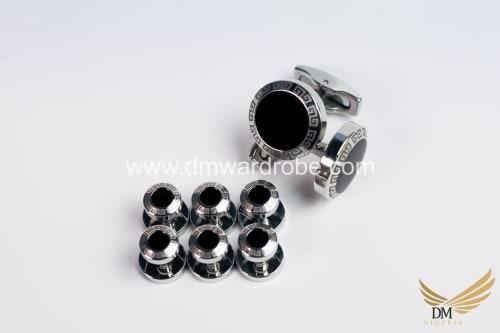 Black Silver Cufflinks and Studs