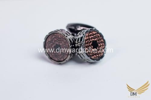 Dark Brown Silver Cufflinks