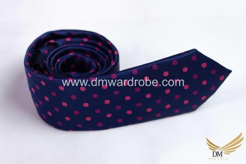Blue Pink Polka Dot Tie