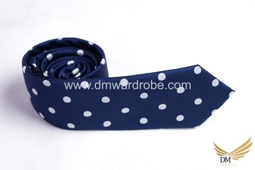 Blue White Polka Dot Tie