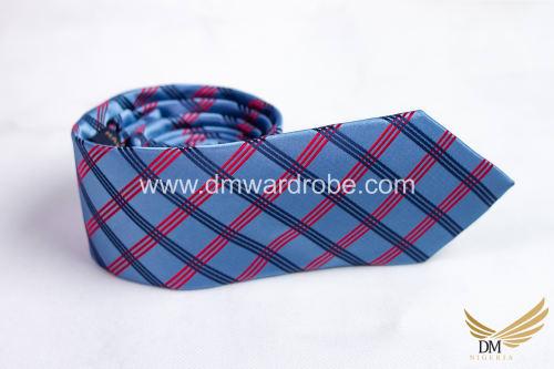 Sky Blue Black & Red Stripes Tie