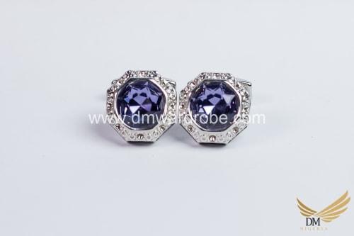 Navy Blue Silver Cufflinks
