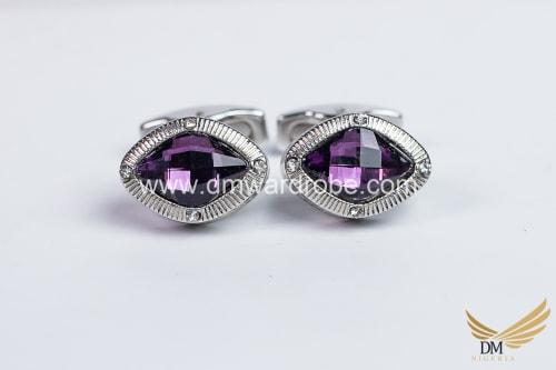 Purple Silver Cufflinks