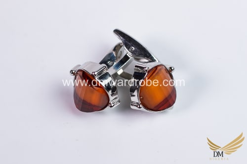 Amber Silver Cufflinks