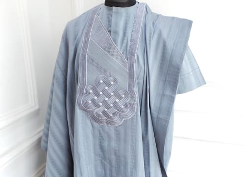 Gray Atiku Agbada Traditional Men's wear