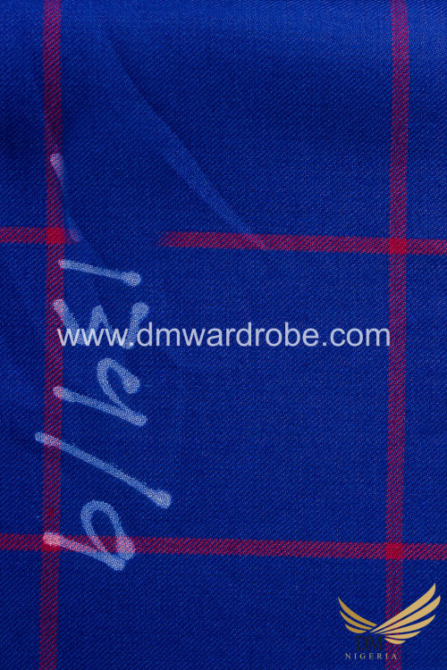 Suiting Blue & Red Stripes Fabric