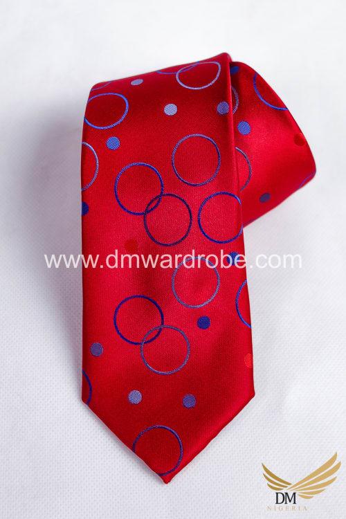 Red Blue Polka Circle Tie